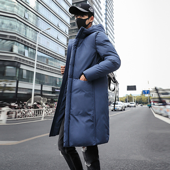 B 2020 New Long Thick Winter Coat Men Brand Clothing Black Solid Warm Hooded Jacket Male Quality Parkas