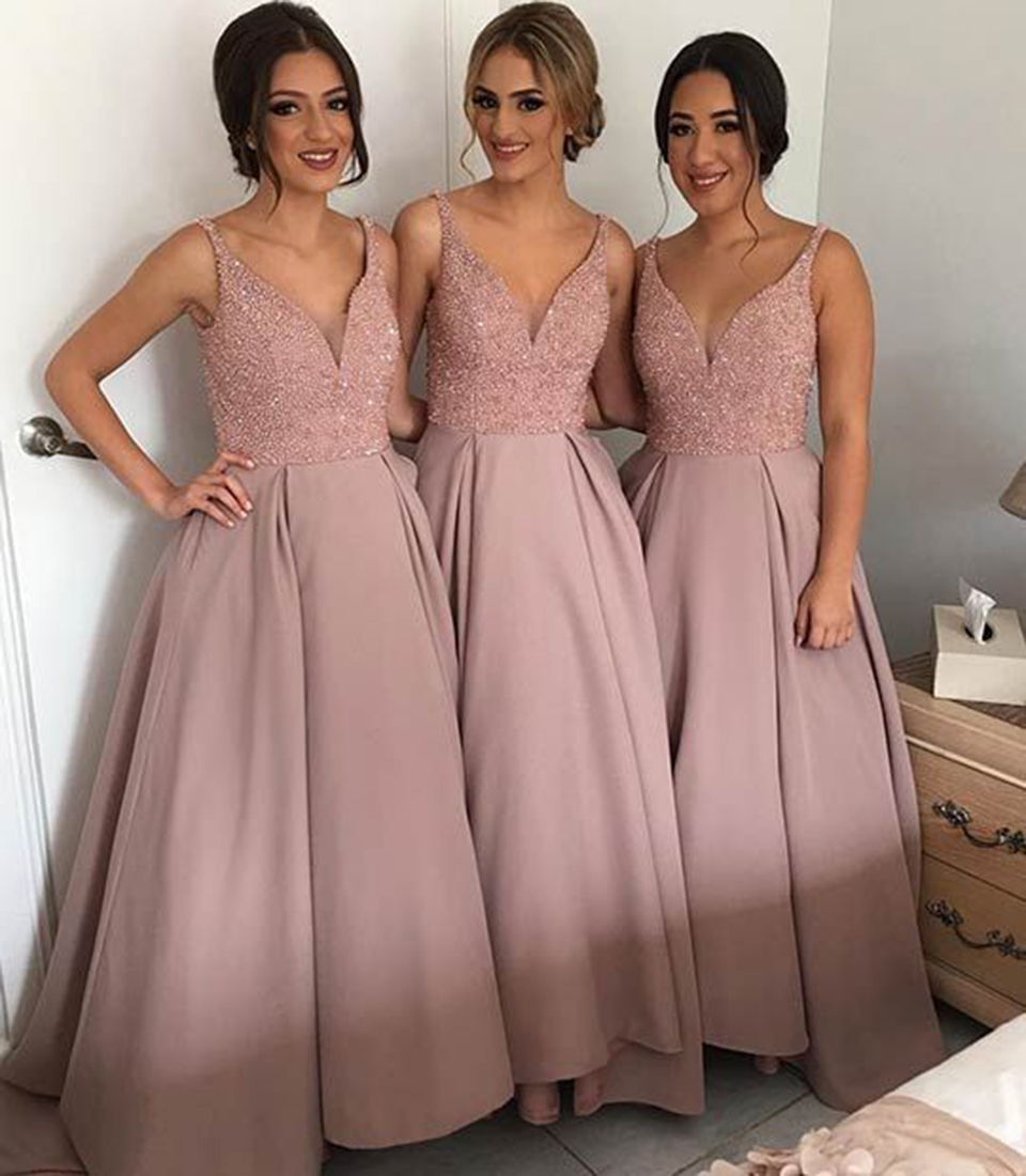 Glamorous Light Pink Blush Bridesmaid Dresses Long Beaded Satin Ball ...