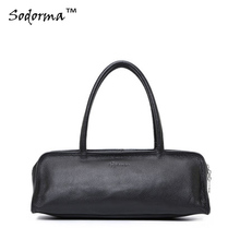 Casual style solid candy colors genuine leather Women's handbag cowhide lady shoulder bag pillow shaped Tote clutch 35*10cm