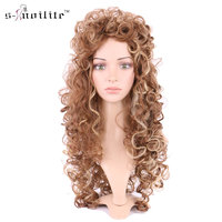SNOILITE Women Synthetic Curly Long Wig Ladies Cosplay Party Real Natural For Human Daily Full Wigs