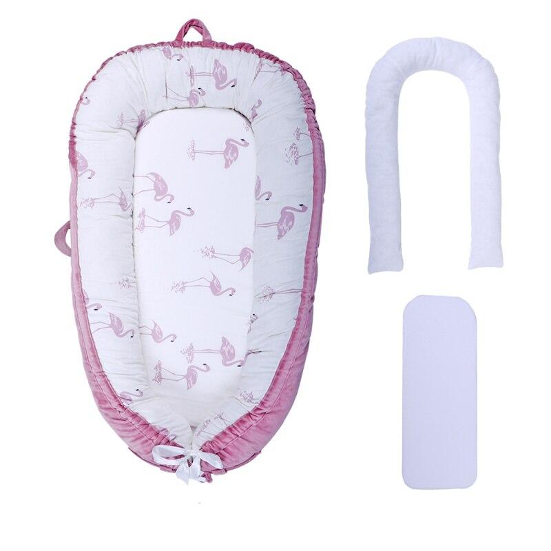 [Полностью разборный] детский шезлонг для новорожденного, двусторонняя переносная кроватка для сна - Цвет: pink flamingo