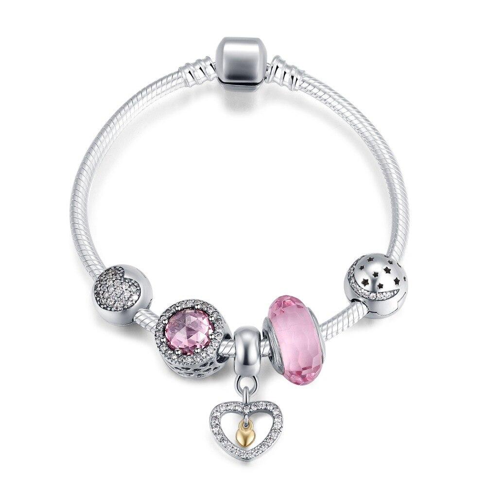 Luxe 925 argent charme chaîne vie amour rose cristal Bracelet pour femmes mode argent bijoux cadeau pour femmes petite amie mère
