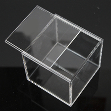 9x9x9cm clear acrylic gift box jewelry display storage box with sliding cover
