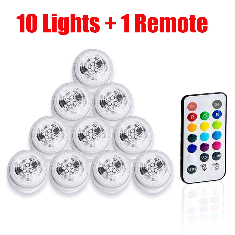 10 Pcs LED RGB Waterproof Submersible Aquarium Fish Tank Bar Vase Light Tealight Candle Light For Wedding Birthday Anniversary