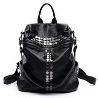 ZHIERNA 2017 Fashion Female Leisure Bag Mochilas Women Backpacks Rivet Black Soft Washed Leather Bag Schoolbags