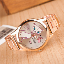 New Fashion Rose Gold Crystal Ladies Watch Cartoon Cat Luxury Stainless Steel Women Quartz Watches Relogio Feminino Clock Hot