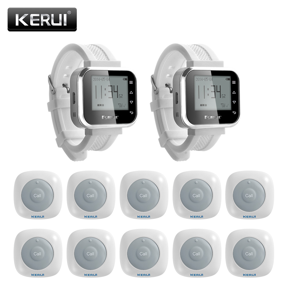 KERUI New Waterproof Call System Button Buzzers 100M Waiter Service Calling System Watch Pager Restaurant Service System restaurant service