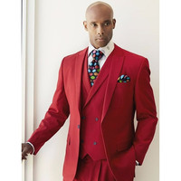 Men Suits Red Fashion Blazer With Double Breasted Vest Wedding Suits Formal Party Tuxedo Slim 3 Pieces (Jacket+Pants+Vest) G500