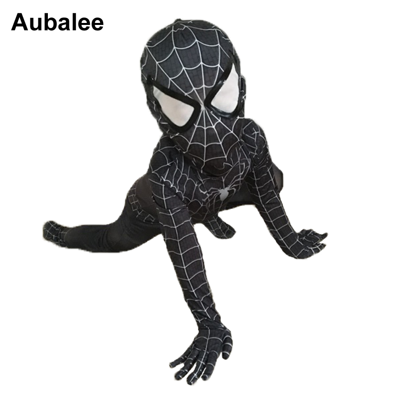 NEW Black Spiderman Boys Venom Costume 키즈 Superhero Cosplay Lycra 풀 바디 수트 Zentai Suit Halloween Child 멋진 드레스 2018