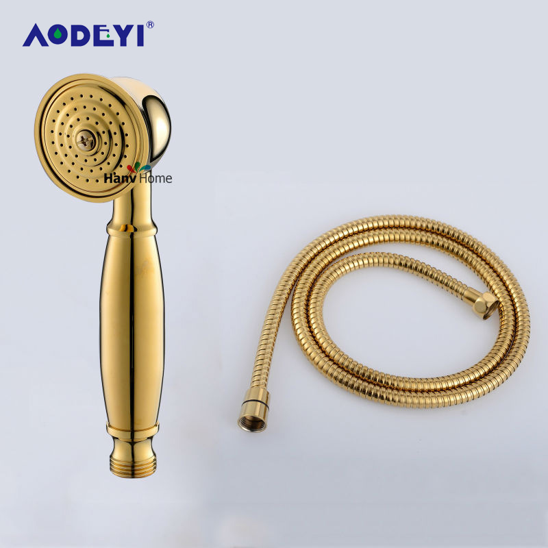 AODEYI Gold Classical Brass Telephone Hand Held Shower Head 1.5m Hose Water Saving Antique Golden Handheld Sprayer Shower Set