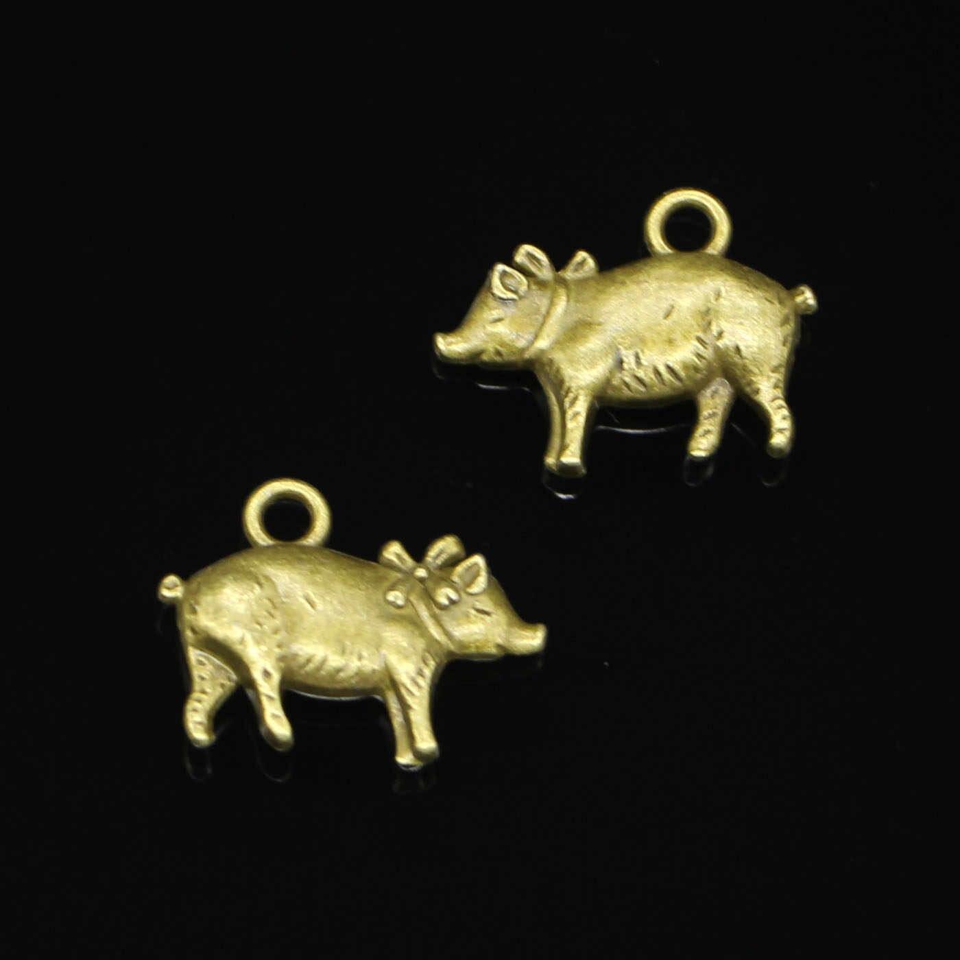 44 шт античная бронза с покрытием 3D Свинья Подвески для самостоятельного изготовления ювелирных изделий Подвески ручной работы 21*16 мм