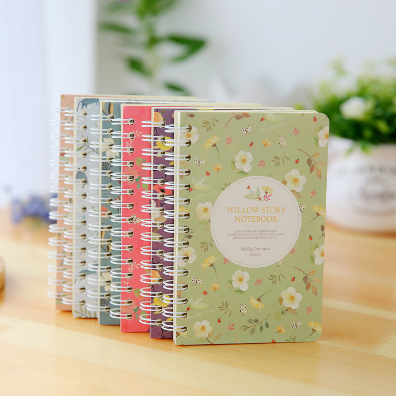 Cute Korean Mini Small A6 Spiral Notebook Memo Pads Hard Cover Notepads Planner Paper Notes For