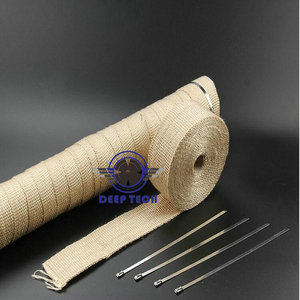 Image 3 - Beige Exhaust Muffler Pipe Header Heat Resistant Exhaust Wrap 10m x 2inch With Cable Ties