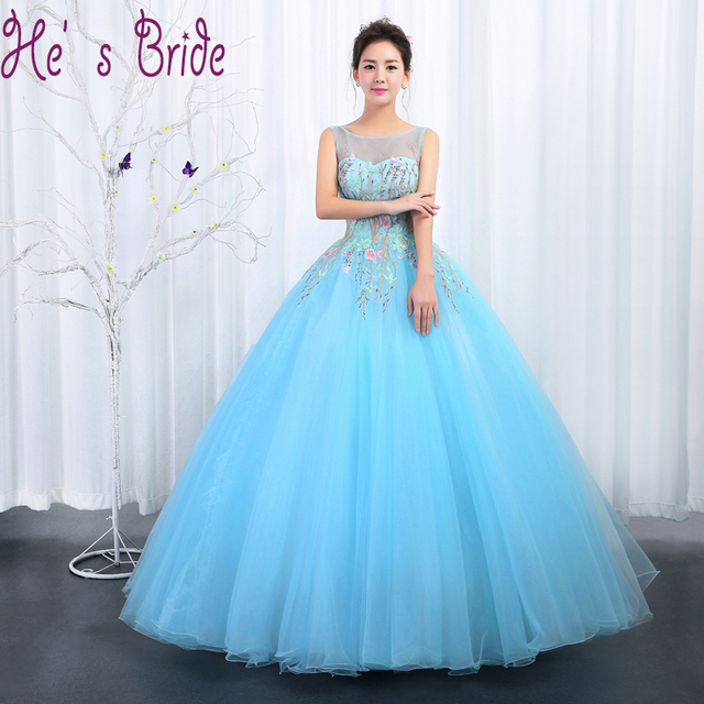 US $78.02 6% OFF|Pink Blue Cheap Prom Dresses Long 2017 New Scoop Neck  Sleeveless Floor length Flowers Pattern Plus Size Formal Ball Gown  Custom-in ...