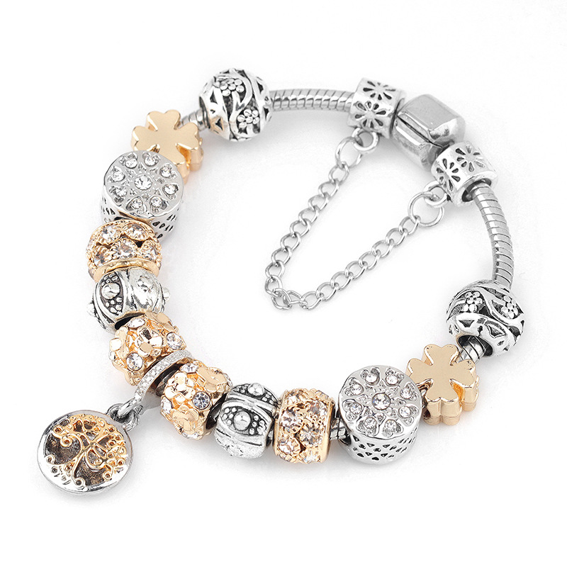 CUTEECO Vintage Silver Color Charm Bracelet With Tree Of Life Pendant & Gold Crystal Ball Brand Bracelet Dropshipping