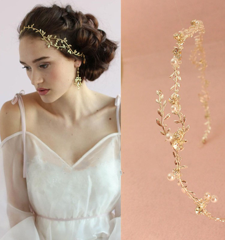 Boho Gold Silver Branch Wedding Headband Hair Vine Accessories Handmade Bridal Pearl Hair Jewelry Headpiece Women Headbands 15pcs lot stretch elastic tutu headbands diy headband hair accessories 1 5 inch crochet headband free shipping 33colors in stock