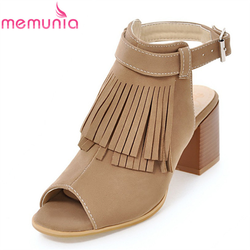 MEMUNIA 2017 new arrive women sandals fashion fringe peep toe high heels summer shoes elegant ladies prom shoes big size 34-43 memunia flock pointed toe ladies summer high heels shoes fashion buckle color mixing women pumps elegant lady prom shoes