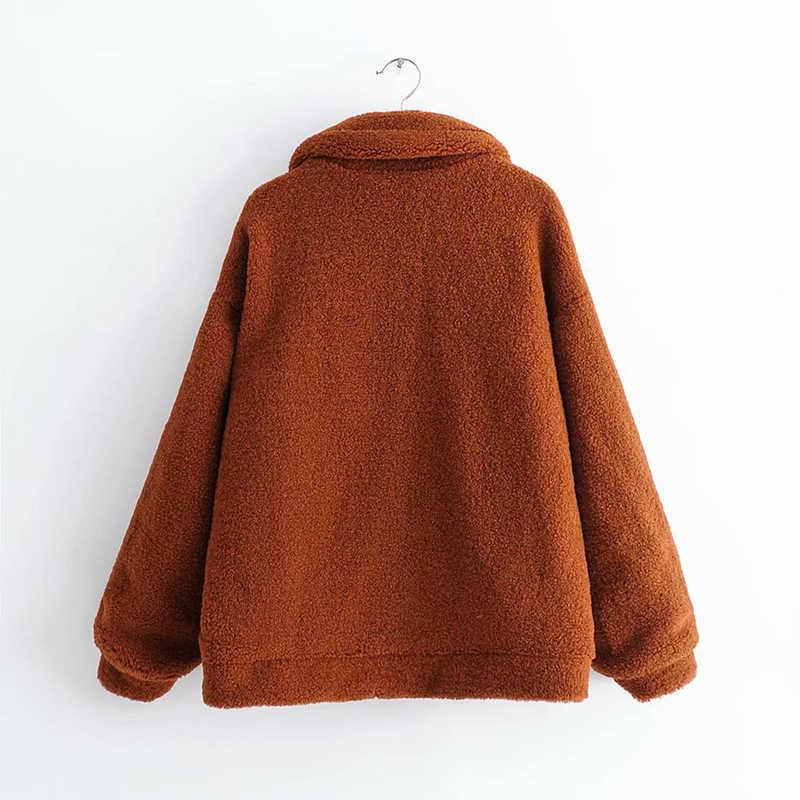 Las mujeres de abrigo de piel de cordero abrigo de pelo suave de moda mujer chaqueta