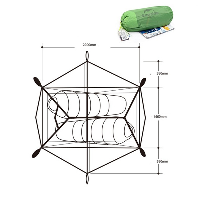 Naturehike Tent 2 Person 20D Silicone Fabric Double Layers Rainproof Camping Tent With Footprint Snow Skirt Anti Snow 4 Season