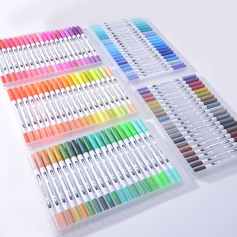 12/18/24/36/48/72/100PCS Colors FineLiner Art Marker Pens Watercolor Drawing Painting Dual Tip Brush Pen School Supplies