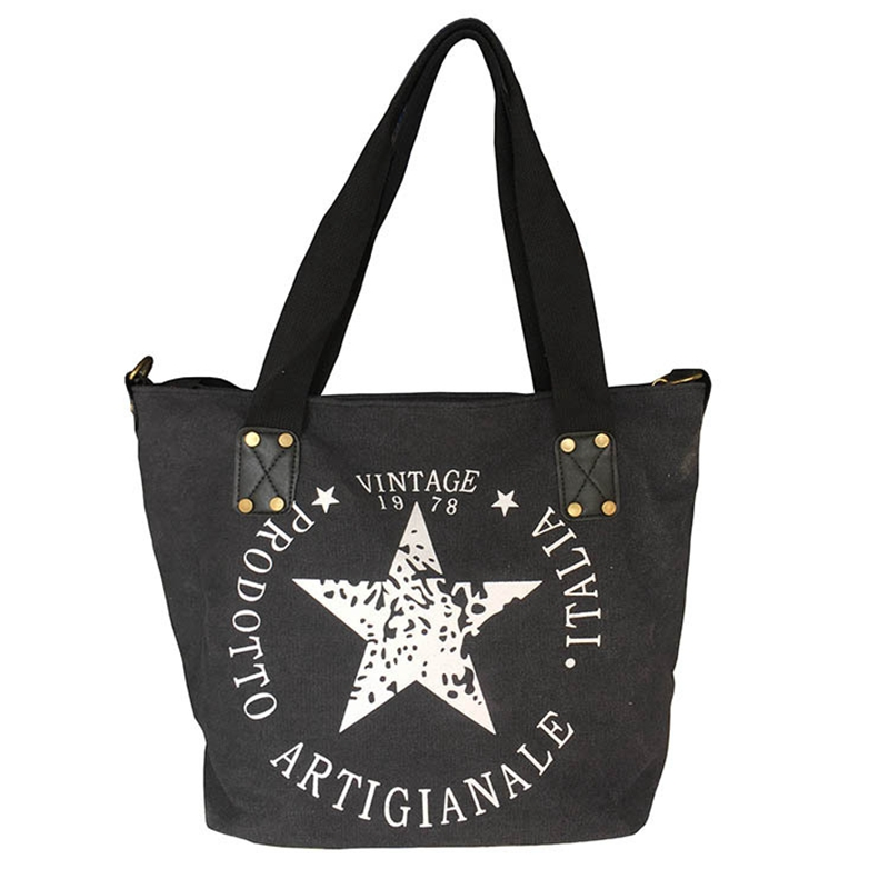 813efac8348f0 new fashion canvas women shoulder bag Large capacity casual Tote Pentagram  printing handbags vintage style women bag -in Shoulder Bags from Luggage &  Bags ...