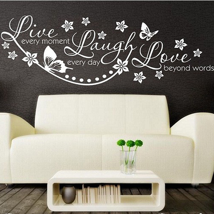 Vinyl live laugh love wall art sticker lounge room quote for Stencil wall art