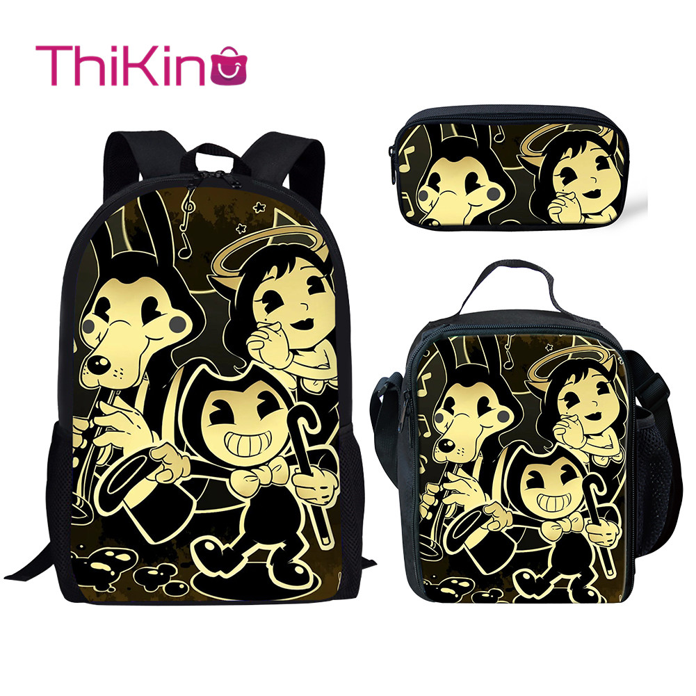 Thikin Bendy And Ink Machine Pretty School Bags For Boys 3pcs/set Students Preschool Backpack Bookbag With Lunch Boxes Satchel