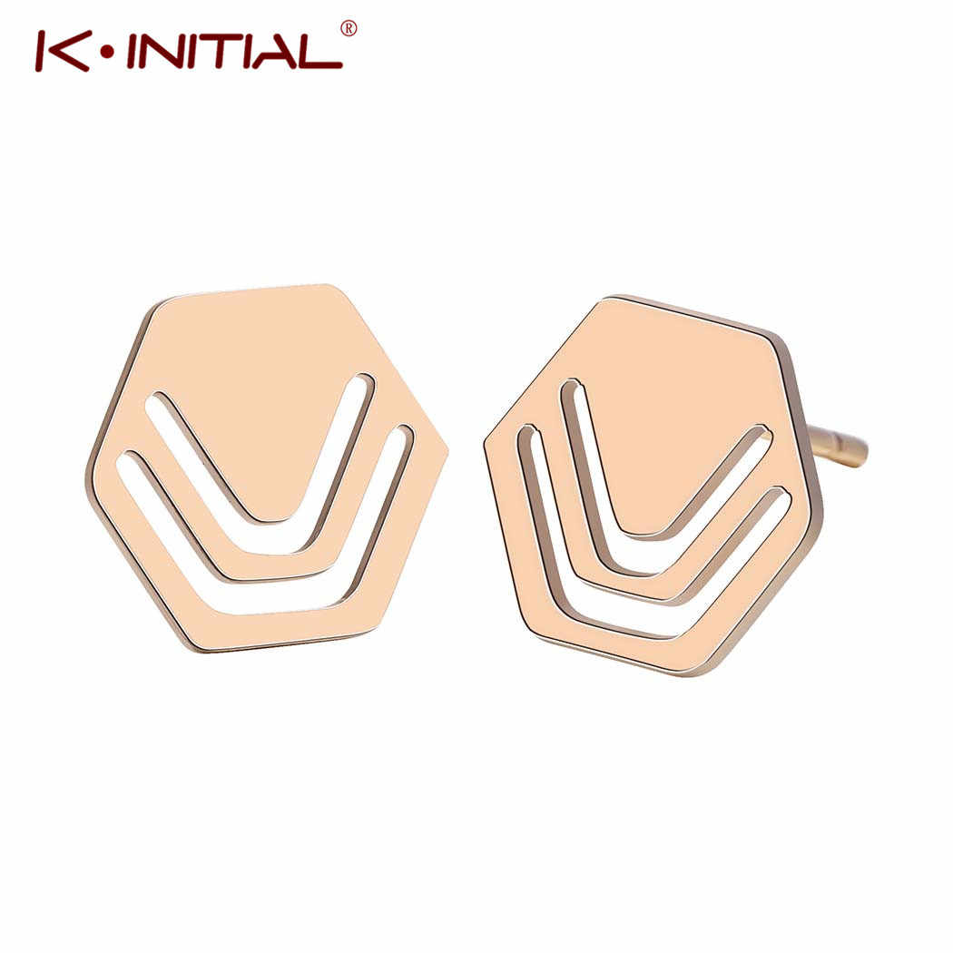 Kinitial Female Geometric Hive Hexagon Stud Earrings Jewelry Simple Stainless Steel Hexagon Earrings For Women Brincos Earrings