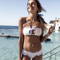 Ariel Sarah 2018 Sexy Lace Bikini Solid Swimwear Women Bathing Suit White Bikini Bandage Swimsuit Maillot