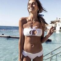 Ariel Sarah 2018 Sexy Lace Bikini Solid Swimwear Women Bathing Suit White Bikini Bandage Swimsuit Maillot