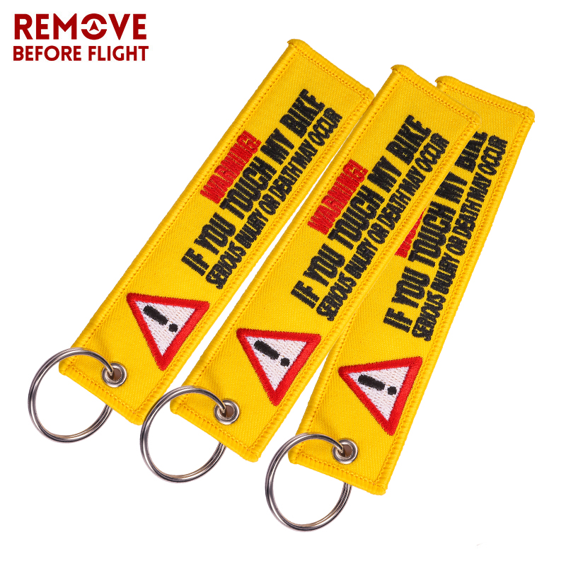 3PCS Remove Before Flight Warning Keychain Tag Keychains for Motorcycles and Cars Key Embroidery Yelloew Danger Rings
