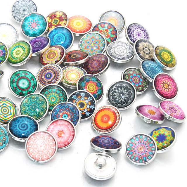 10pcs/lot Mixed Bohemia Pattern&Styles Charms 12mm 18mm 20mm Exotic Glass Snap B