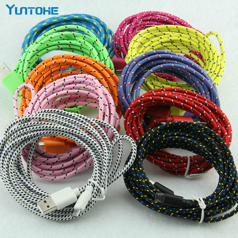 1/2/3M Nylon Braided 8pin USB Cable For IPhone Durable Data Sync Line Braid Charging Cord For Xs Max 8 7 6 6Plus 5 10pcs/lot
