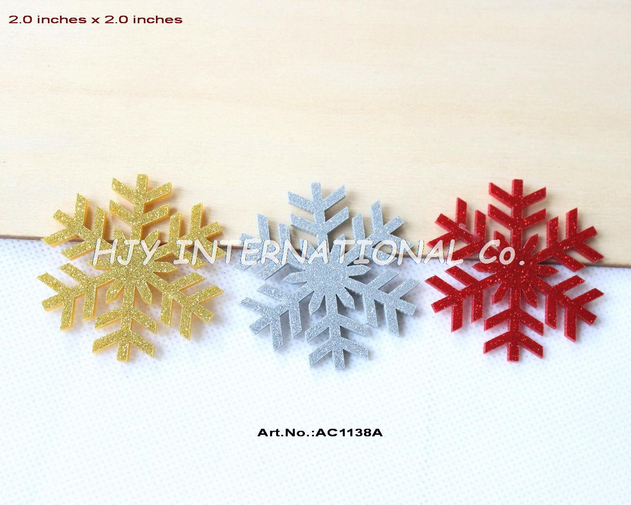 Snowflakes ornaments -  3colors 24pcs Lot 50mm Acrylic Snowflakes Brooches Gold Red Sliver