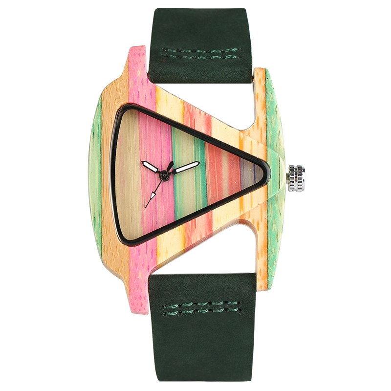 Rainbow stripe women bamboo watch sweet candy color triangle wood dial lovely lady girls casual for Rainbow color stripe watch