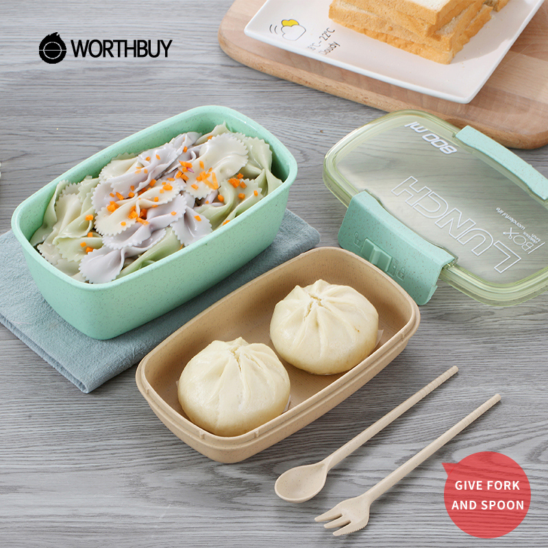WORTHBUY Japanese Microwave Lunch Box Eco-Friendly Wheat Straw Bento Box For Kids School Food Container With Dinnerware Set