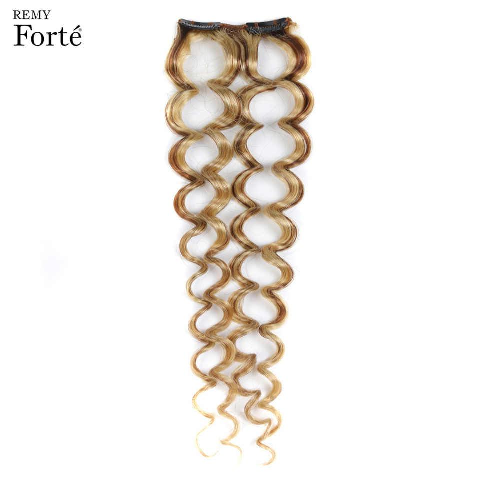 Extensiones de cabello humano Remy Forte, Clip de pelo rizado en 7 Uds P6/613 mechones Rubio, extensiones de cabello de 24 pulgadas