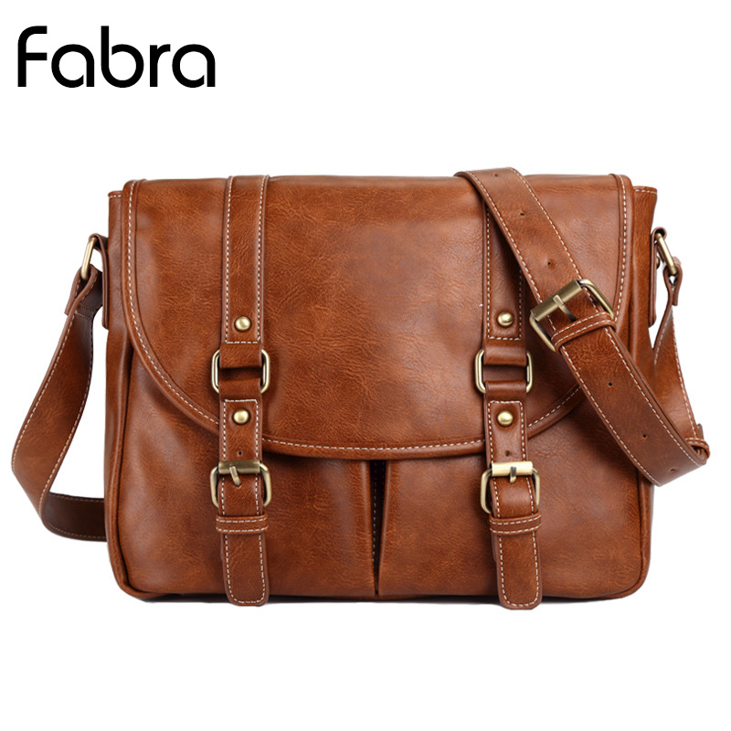 все цены на Fabra Fashion Brand Business Shoulder Men Bag PU Leather Handbag Messenger Bag Casual Vintage Man Crossbody Shoulder Bags Brown онлайн