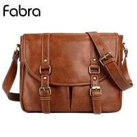 Fabra Fashion Brand Business Shoulder Men Bag PU Leather Handbag Messenger Bag Casual Vintage Man Shoulder Bags Brown
