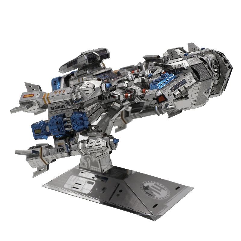 مو ستار كرافت أرضي معركة كروز 3D لغز معدني DIY 3D تجميع نموذج بناء أطقم الليزر قطع بانوراما لعب YM M015-في مجموعات البناء النموذجي من الألعاب والهوايات على  مجموعة 1