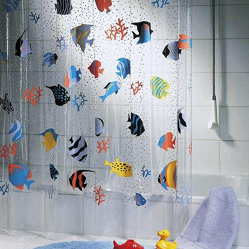 Shower Curtain Washable Bath Decor Transparent Waterproof Shower 180*200cm cartoon cute fish pattern printing Curtain bathroom sea sky bath shower curtain floor rug 2pcs set