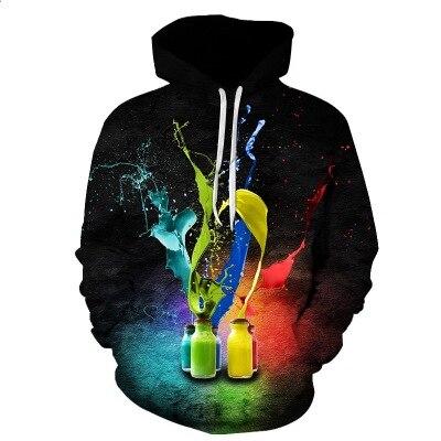 2019 Hoodies Men 3D Color bottle Printed Autumn Winter Tracksuit Clothing Casual Sportswear Sweatshirt Hoodie