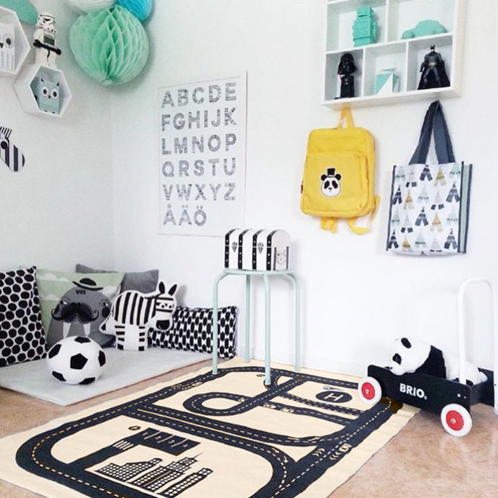 Rectangular Road Play Mat Activity Soft Cotton Floor Carpet Printing Exploring Crawling Play Rug for Bedroom Playroom Classroom