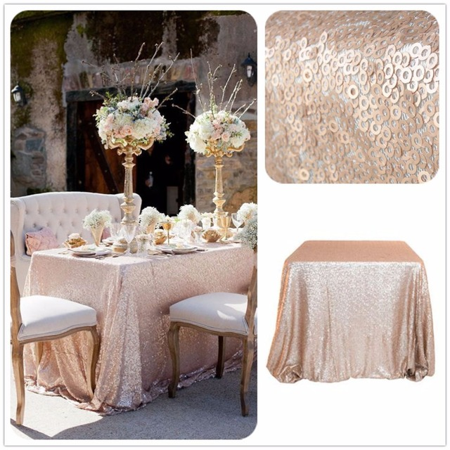 LQIAO High Density Rectangle Sequin Tablecloth 90x156 Glitter Champagne/Gold  Sequin Table Overlays For