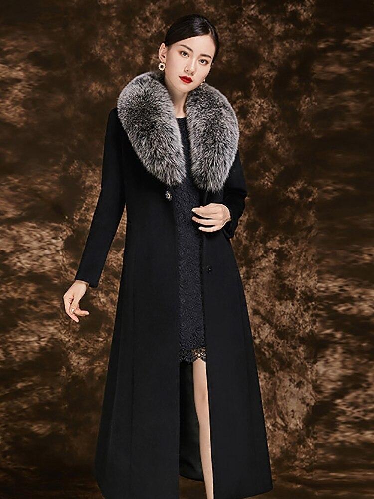 Fur Avec Laine Femmes gris Renard Nouvelle Manteau bleu rouge 100 Tranchée Ceintures Turn Fox grey De Épais Col Cachemire Fourrure Longue Noble Noir Chaud D'hiver down Mince 7qp4x5qBw6