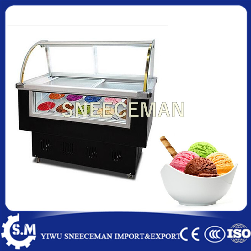 Custom Size Color Gelato Cabinets Ice Cream Dipping Display Freezer