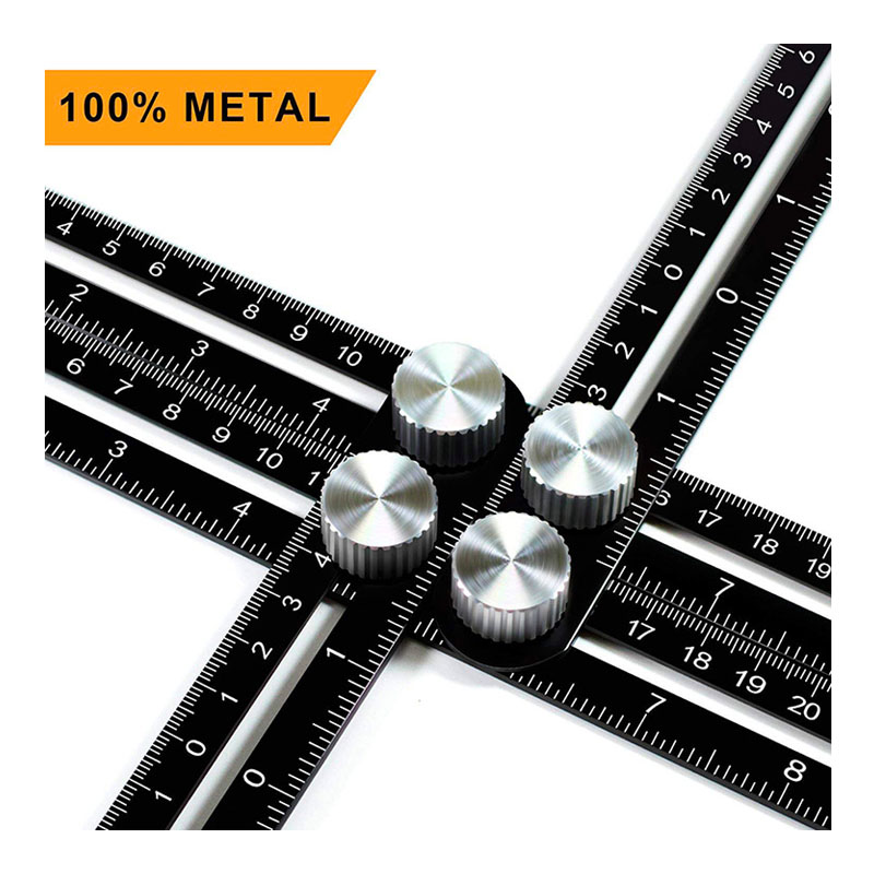 Black Aluminum Alloy Four-Sided Ruler Measuring Instrument Template Angle Tool Mechanism Slides