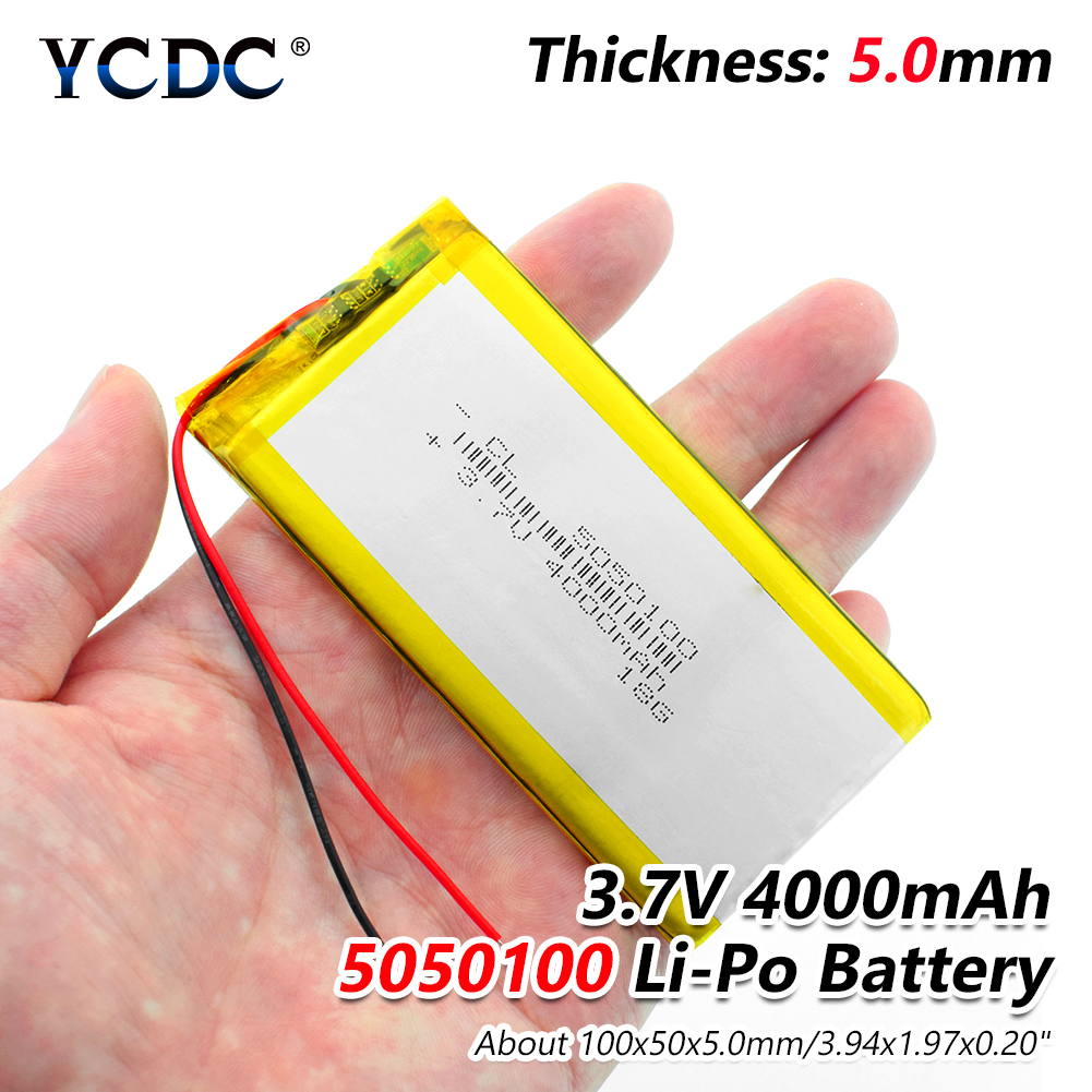 1/2/4Pcs 3.7V 4000mAh 5050100 Lithium Polymer LiPo Rechargeable Battery Ion Cells For Mp3 Mp4 Mp5 GPS DIY PAD DVD BT Speaker