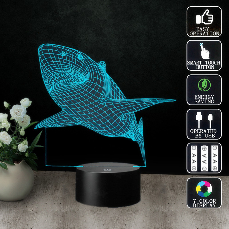 New Creative Shark Led 3d Night Light Three-dimensional Kid Living Room Bedlamp Table Lamp 3d Led Bulbing Lamp Decorate Kingchip