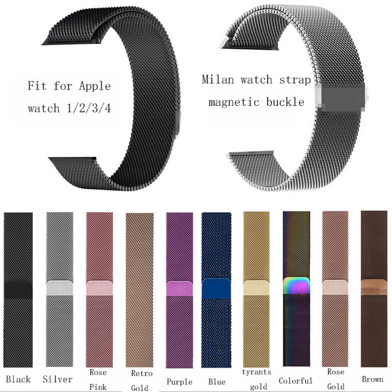 Milanese Loop Bracelet Rose Gold Stainless Steel Band For Apple Watch Series 1/2/3 38mm Bracelet Strap Foriwatch Series4 40/44mm